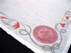 RESERVED for martiek - vintage Boy Scouts of America handkerchief - unique - white cotton with red print animals.