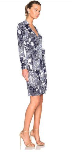 Diane von Furstenberg New Jeannie Two Flower Power Wrap Dress, Midnight  | eBay