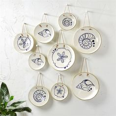 Mykonos Set of 9 Hanging Decorative Plates by Twou0027s Company - Seven Colonial  sc 1 st  Pinterest & Twou0027s Company Floral Design Ceramic Plates | Decorative Plate Sets ...