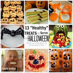13 Healthy Halloween Treats- because we will all feel a little guilty if our kids eat candy for dinner. @craftytexasgirls.com #halloweentreats #healthy