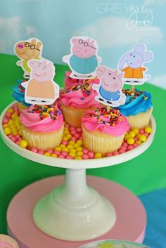 Fun cupcakes at a Peppa Pig birthday party! See more party ideas at CatchMyParty.com!