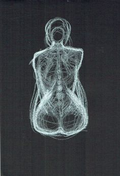 Drawing by Ödön Kunyi, Claire, white crayon on black paper, 2015