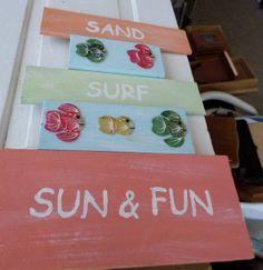 Beach sign beach colors fish sand sun wood sign by rustyitems, $20.00