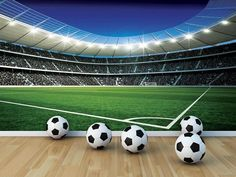 Giant size wallpaper mural for boy's room. Football Stadium wall mural decor ideas. Express and worldwide shipping. Free UK delivery.