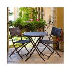 Bistro Set Outdoor Table Chair Garden 3 Piece Wrought Iron Wicker Deck Patio New