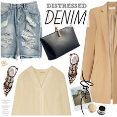 distressed denim skirt by jesuisunlapin on Polyvore featuring polyvore, fashion, style, By Malene Birger, Miss Selfridge, Sway, Valentino, Iala DÃ ez, Jennifer Fisher and Stila