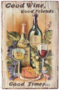 Good Wine , Good Friends - Printed Sign, $13.99 California Seashell Company