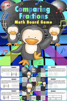 This comparing fractions game contains 30 WORD PROBLEM game cards and a game board to help students practice comparing fractions (3.NF.A.3, 3.NF.A.3.D). This game works great as a pair/group activity, or for use in math centers.