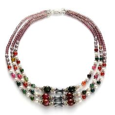 Liquidation Channel - Affordable Hematite, Multi Color Agate, Purple Glass, White Austrian Crystal, White Glass Pearl Necklace (18 in) in Silvertone