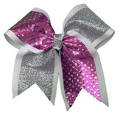 "3"" Extra-Large Specialty Material and Glitter Diagonal Flip Flop Bow by Cheerleading Company"