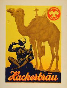 1926 Ludwig Hohlwein Hackerbrau Beer Camel Litho Poster - ORIGINAL POSA5