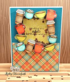 This square frame shaker has a latte coffee (and cocoa and tea!) These cute little Lawn Fawn images that I colored with copic markers...