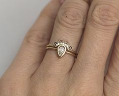 Diamond Lace Ring With Pear Diamond Engagement ring by MinimalVS