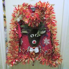 Reindeer Tacky Ugly Christmas Sweater Wild Garland, Light up Bow Tie snowflakes sz Large In stock ready to ship Priority mens womens by tackyuglychristmas on Etsy Ugly Christmas Sweater, Being Ugly, Light Up, Reindeer, Snowflakes, Garland, 3 D, Christmas Wreaths, Bows