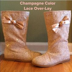 """OMG!!!  GORGEOUS BOOTS W/ SATIN BOW Yes, I think I've lost my mind!!!  I LOVE these boots, just a bit too big. A re-posh I've had for 2 yrs and worn once . It don't get much cuter then this. Beautiful fabric Champagne color with a hint of silver threading.  Satin bows on outside, very small .05"""" heel. These babies are in Excellent Condition except for a little wear on bottom.  Pics don't do justice!!!  Note: matching shirt in 1st pic can also be purchased, butterfly sleeves and size small…"""
