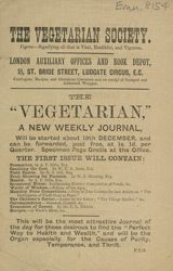 Advert For 'The Vegetarian' Journal - UK 1881/12/19