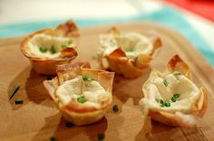 Mini Crab Rangoon: In Wonton cups. Can also be served as a dip with chips