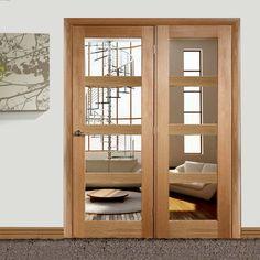 Easi-Frame Oak Door Set, GOSHA4L-COEOP32L, 2005mm Height, 1432mm Wide. #oakdoor #oakglazeddoor #oakroomdividersxl