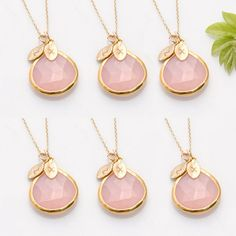 Set of 6 - Bridesmaid Stamped Jewelry - Personalized Spring Wedding Jewelry - Bridesmaid Jewelry Set - Pink Wedding - Chalcedony Necklaces. $360.00, via Etsy.