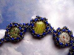 perle veneziane con avventurina ingabbiate
