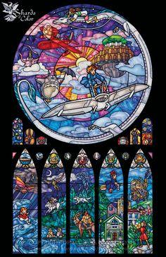 Items similar to Ghibli Celebration Stained Glass Illustration - Full Size on Etsy Studio Ghibli Films, Art Studio Ghibli, Totoro, Manga Anime, Anime Art, Hayao Miyazaki, Sword Art Online, Girls Anime, Howls Moving Castle