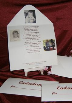 10 x Einladung Hochzeit Geburtstag = Umschlag, mit Textdruck, Papier