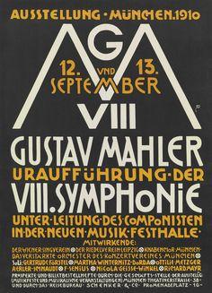 Alfred Roller. Gustav Mahler, Uraufführung der VIII Symphonie (Gustav Mahler, Premiere of Eighth Symphony) (Poster for world premiere of Gustav Mahler's 8th Symphony in Der neue Musik Festhalle, Munich, Germany). 1910