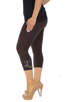 Embellished Butterfly Foil Cropped Leggings - Brown Plus Size Leggings, Size Clothing, Plus Size Outfits, Large Size Clothing, Plus Size Fashions, Plus Size Clothing, Plus Size Dresses