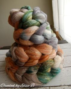 Merino/Bamboo 'Scotland's Grahams' 4 oz hand dyed combed top spinning fiber, roving wool, green, brown, tan, grey, caramel wool, meriboo from Created by Elsie B