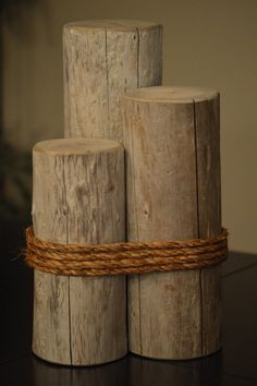 Decorative Driftwood Piling with Rope. Sarah is truly amazing to work with. Reach out to her for yours! She also makes them hollowed out in the center for candles.