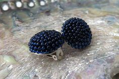 Midnight Blue Round Clip On Earrings Blue Berry Clip On