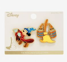 18e3245cd9b73 Disney Fantasia Sorcerer Mickey Mouse Broom 2 Pin Set BoxLunch Loungefly  Limited