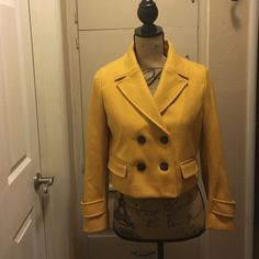 Cartonnier Mustard Yellow Short Waist Coat Gently used gorgeous mustard yellow colored short waist coat purchased from Anthropologie. No tears, no stains. Worn a handful of times. The color pops and it is a truly stunning piece! In perfect condition  Cartonnier Jackets & Coats