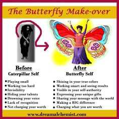 Go from Caterpillar Self to Butterfly Self. Subscribe to the Butterfly You! Magazine and get the free ecourse with 5 steps into your greatness at http://mariamar.com/butterflyU