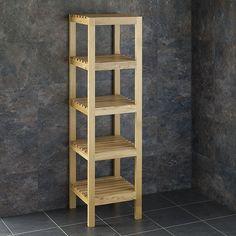 Slatted Solid Oak Tall Freestanding Four Shelf Storage Unit Towel 🧻 Freestanding Bathroom Storage, Bathroom Storage Units, Dining Room Storage, Bathroom Small, Basement Bathroom, Unit Bathroom, Bathroom Plumbing, Bedroom Storage, Towel Storage
