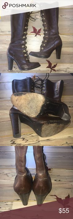 "Michael Kors Boots - Size 7 In good condition. Being used . There are light scuff and sole in good condition. 4"" high. Length is 12"" high. There's so much life left on this one. Make an Offer! MICHAEL Michael Kors Shoes Lace Up Boots"