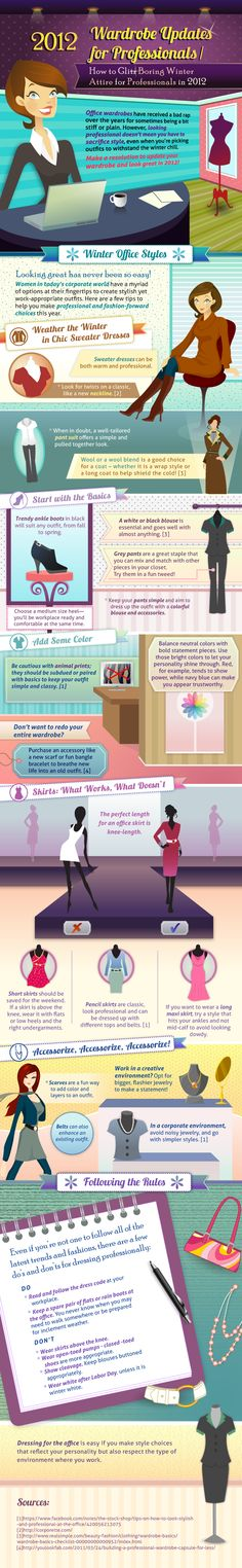 Wardrobe Updates For Professionals - more infographics at http://pinterest.com/infographic/