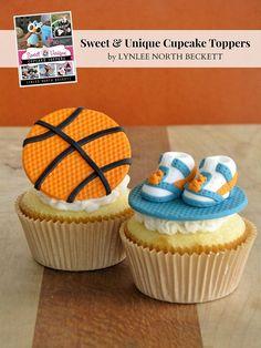 Nothin' But Net Basketball Cupcake Tutorial Fondant Toppers, Fondant Cupcakes, Cupcake Toppers, Cupcake Cakes, Cupcake Tutorial, Fondant Tutorial, Basketball Cupcakes, Basketball Party, Basketball Season