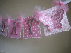 Butterfly Happy Birthday Banner....1st by CreativePartyCrafts