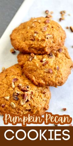 Pumpkin Spice Cookies - these pumpkin pecan cookies are soft and delicious! Perfect for welcoming fall! Quick Recipes, Other Recipes, Easy Dinner Recipes, Holiday Recipes, Easy Meals, Holiday Foods, Simple Recipes, Summer Drinks Kids, Summer Drink Recipes