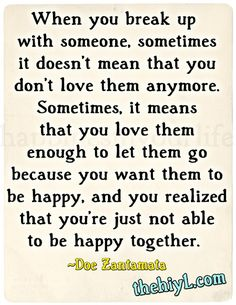 Breaking up to be happy