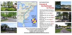 """Our """"pick"""" to date as the 'best' Snowbird RV Route from Canada and New England to Florida and the Gulf Coast. It avoids large cities and tall mountains, has numerous rest areas and truckstops. Visit our page for facts, videos & costs. Rv Travel, East Coast, New England, Retirement, Suitcase, Maps, Cities, Road Trip, Scenery"""