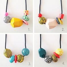 Image result for wooden bead necklace