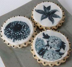 black and white botanical cookies