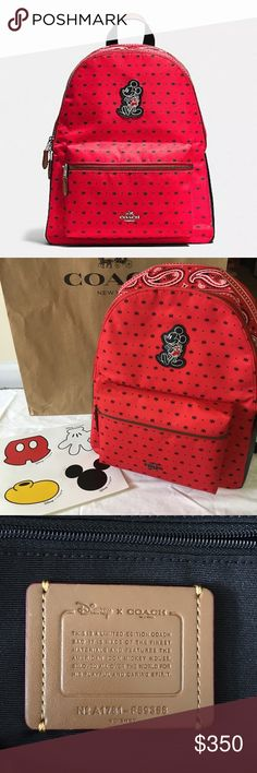 """Coach X Disney Charlie Mickey Mouse Backpack Authentic and new with tags Women's Coach (F59358) Coach X Disney Mickey Mouse Bandana Charlie Nylon Zip Top Backpack Bag.  100% Authentic Coach  12"""" (L) x 14 3/4"""" (H) x 5"""" (W)  Nylon  Coach Logo on Front  Mickey Mose Stitched on Front  Included is a sheet of Coach X Disney stickers. Very cute!  Shipping is immediate from a smoke free home. Reasonable offers accepted! Coach Bags Backpacks"""