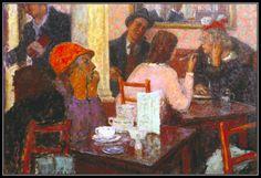 Artwork page for 'Café Scene', Edward Le Bas, 1939 Harlem Renaissance, Art Cafe, Art Deco, Art Station, Tea Art, Fashion Painting, London Art, Figure Painting, Traditional Art