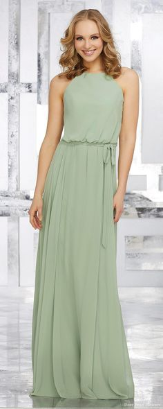 Wedding Ideas - Boho Halter Chiffon Bridesmaids Dress with Matching Chiffon  Tie Sash 3d52f46c62b7