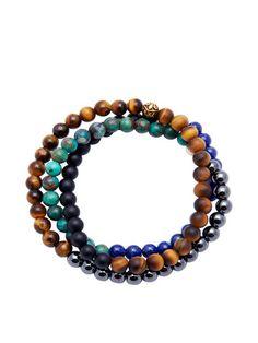 Men's Wrap-Around Brown Tiger Eye, Blue Lapis, Hematite