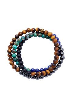 Men's Wrap-Around Brown Tiger Eye, Blue Lapis, Hematite