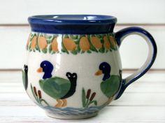 Goose bubble mug by Polish pottery, funny! :D